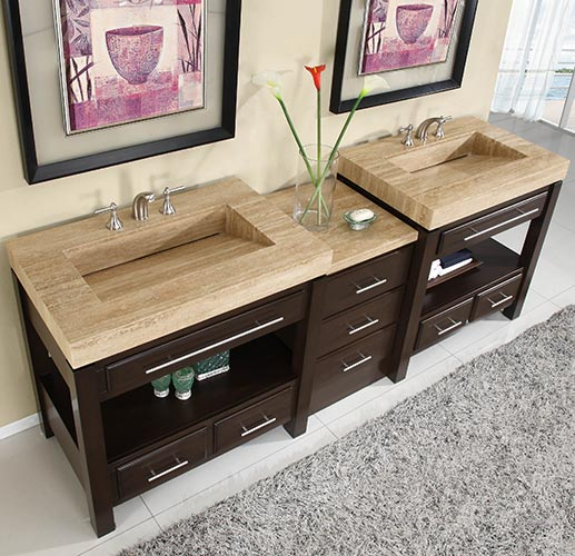 """92"""" Aguila Double Bath Vanity - with Travertine Top"""