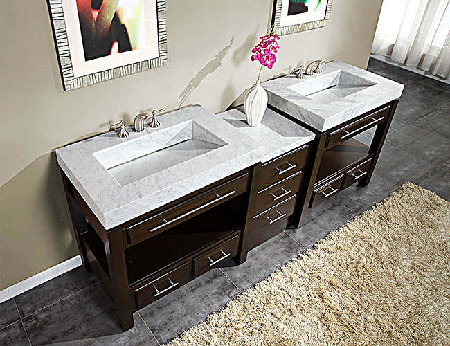 """92"""" Aguila Double Bath Vanity - with White Marble Top"""