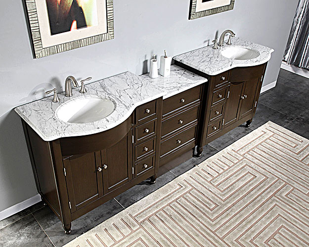 """95"""" Godrano Double Bath Vanity - with White Marble Top"""
