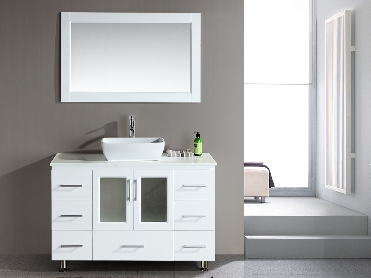 "48"" Stanton Single Vessel Sink Vanity With Matching Mirror"