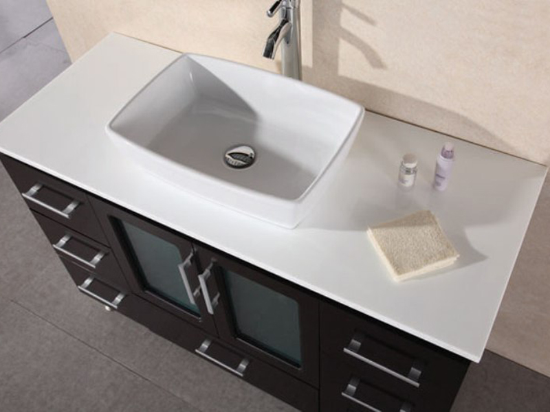 48 vanity with sink. White Composite Stone Top With Porcelain Vessel Sink 48  Stanton Single Vanity Espresso Bathgems Com