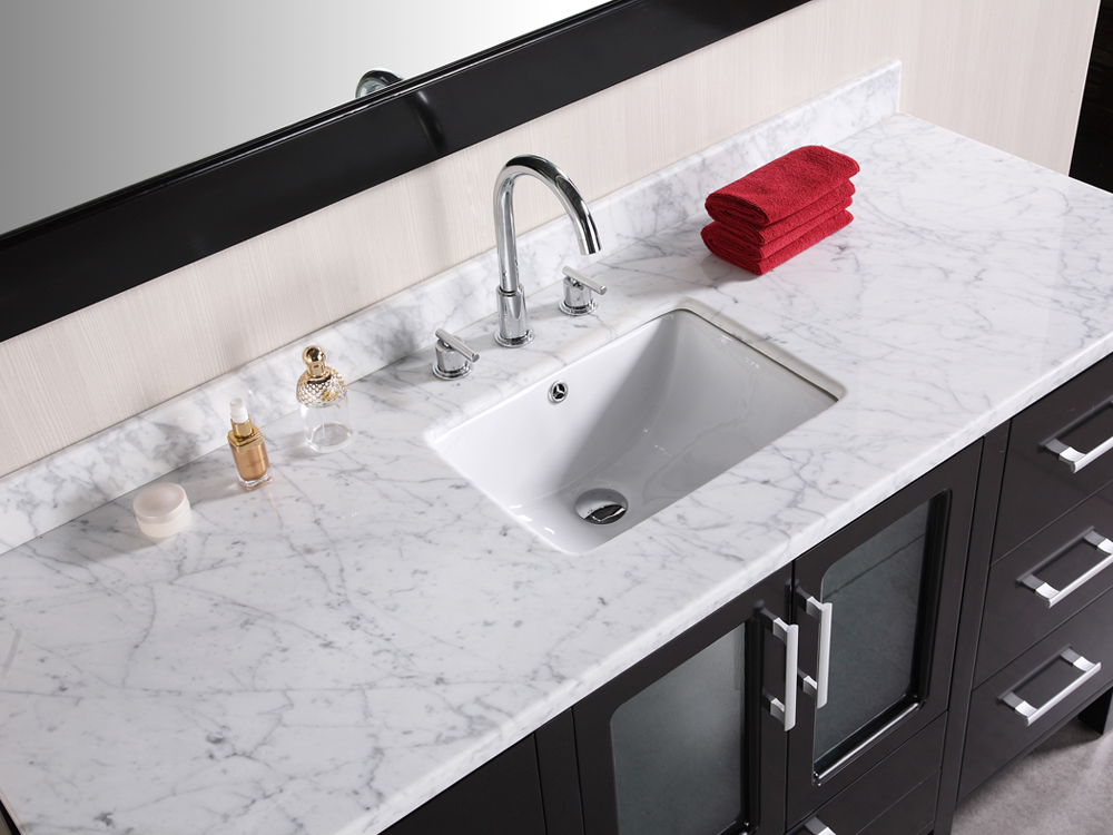 Carrera White Marble Countertop and Porcelain Sink