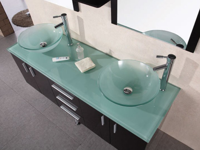 Tempered Gl Counter And Vessel Sinks