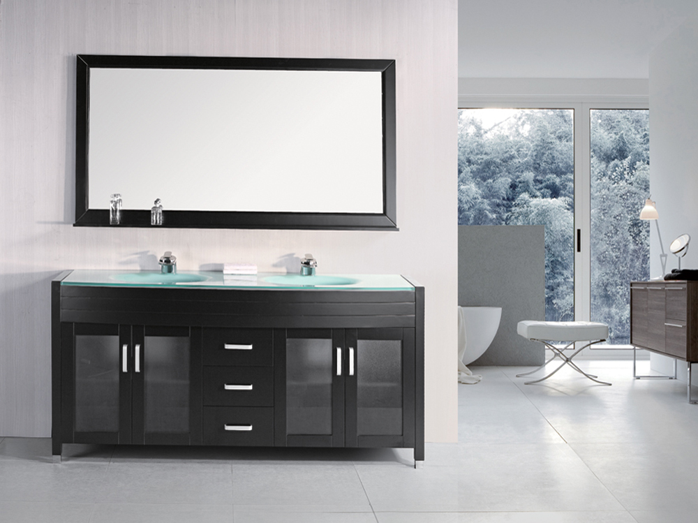 "70.5"" Waterfall Double Vanity with matching mirror"