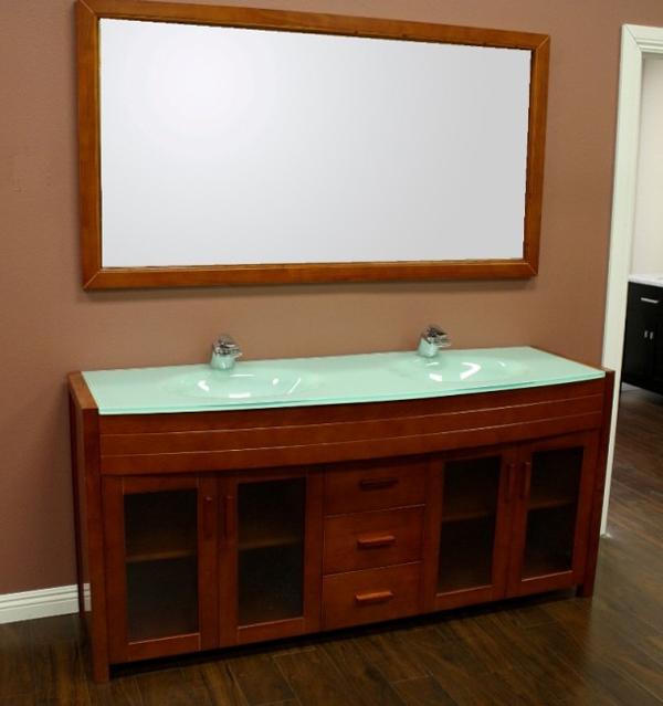 """72"""" Waterfall Double Sink Vanity in Honey Oak"""