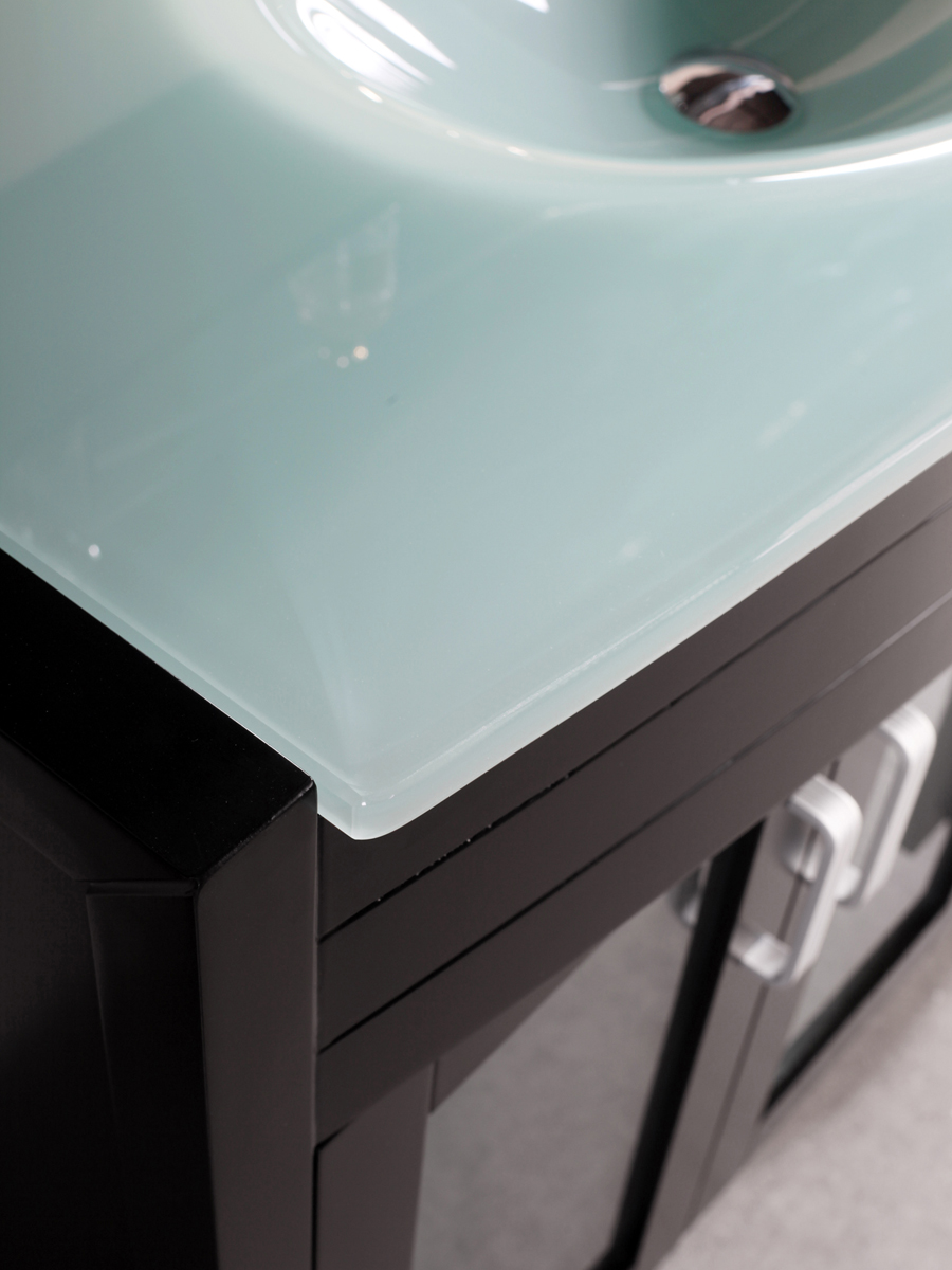 Integrated tempered glass sink top