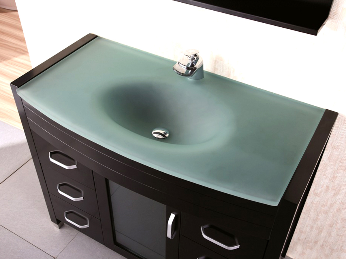 "Glass Bathroom Vanity Tops 48"" waterfall single bath vanity - glass top - bathgems"