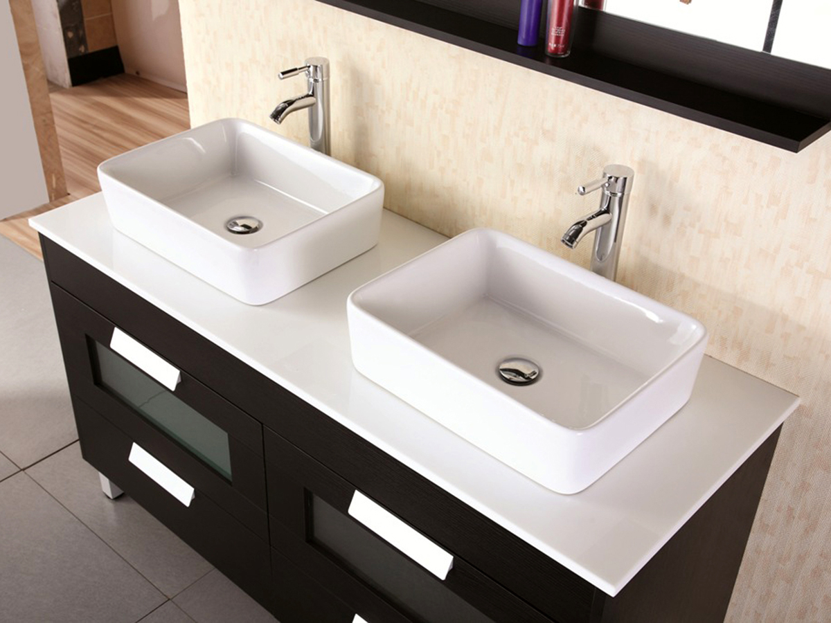 Composite stone top with porcelain vessel sinks
