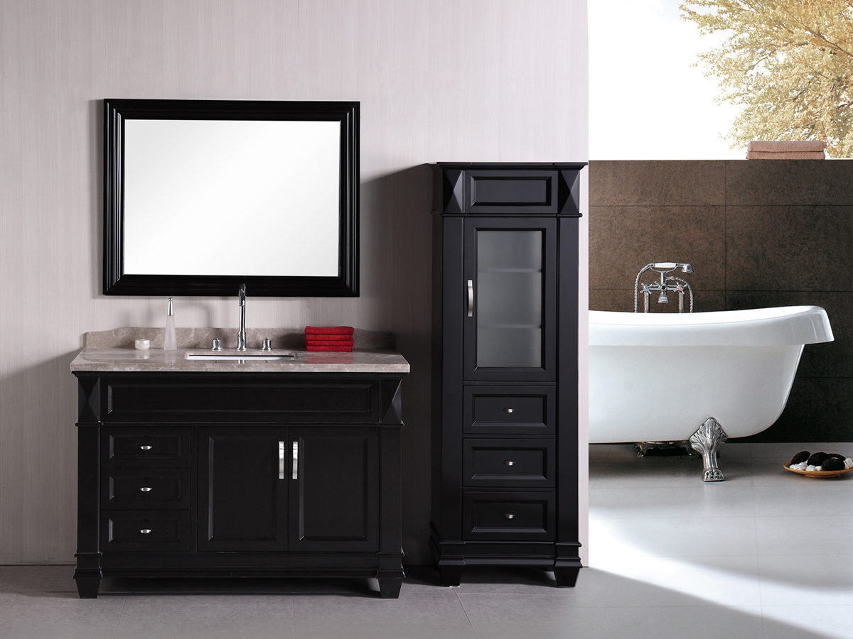 "48"" Hudson Single Vanity - shown with optional linen cabinet"