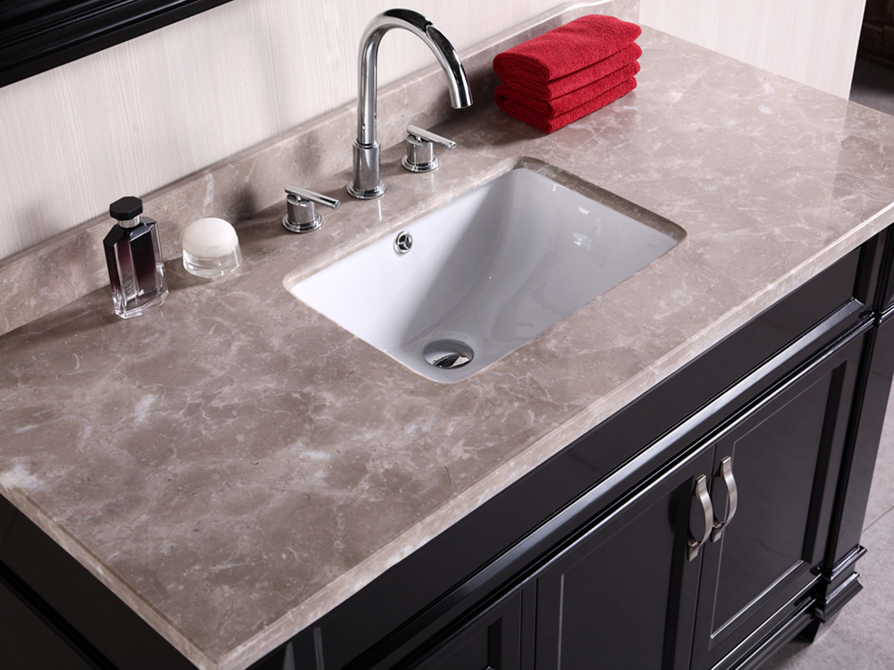 Gray marble top and rectangular porcelain sink