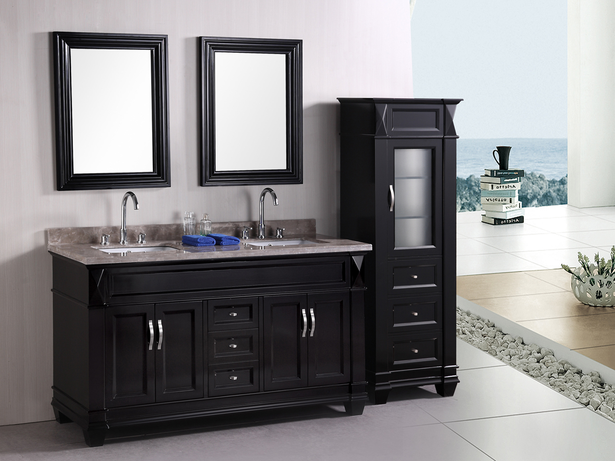 "61"" Hudson Double Vanity - with optional linen cabinet"