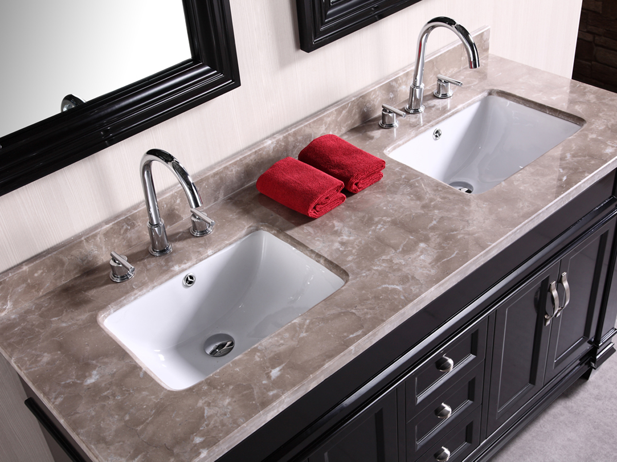 Gray marble top and porcelain sinks