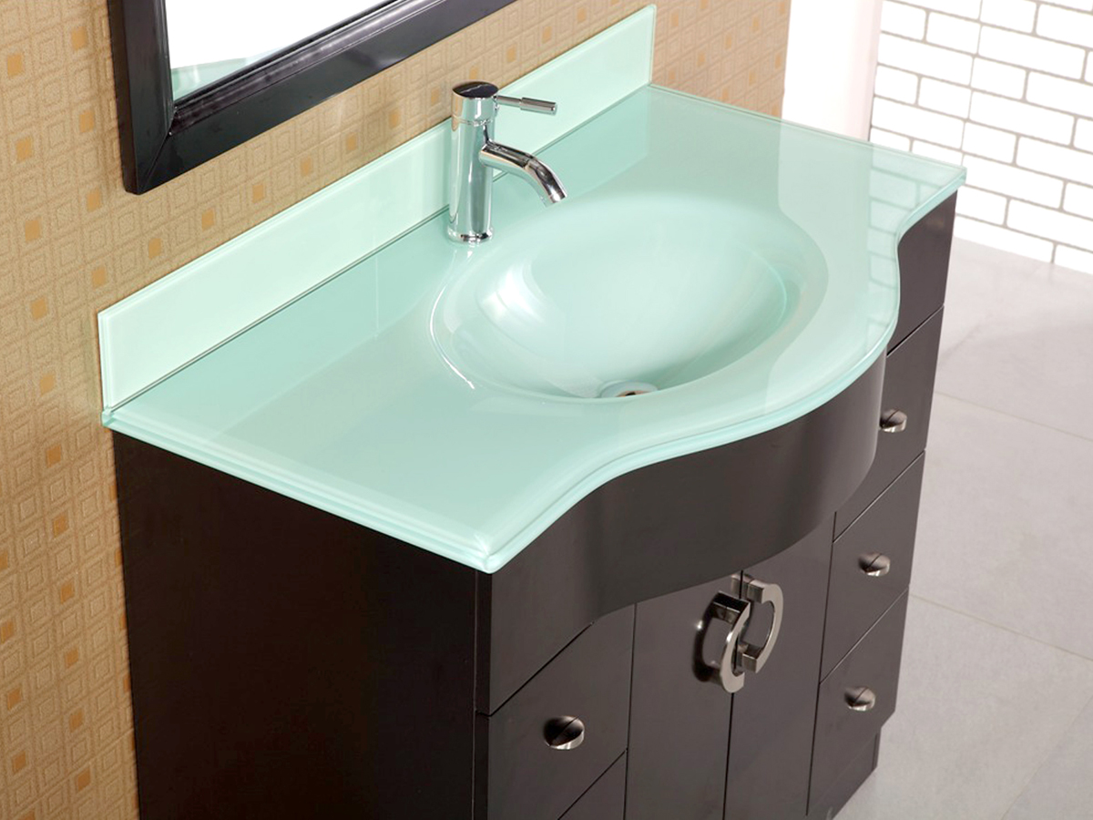 Tempered glass drop-in sink top