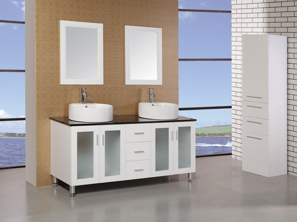"""60"""" Malibu Double Vessel Sink Vanity - with included mirrors"""