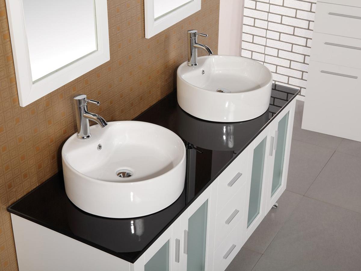 """Black Vanity Cabinet Vessel Sink: 60"""" Malibu Double Vessel Sink Vanity"""