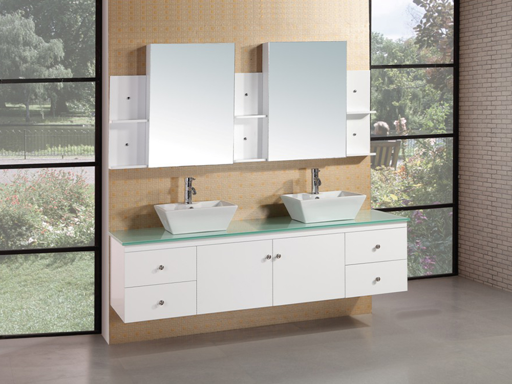 "72"" Portland Double Vanity with included mirrored medicine cabinet"