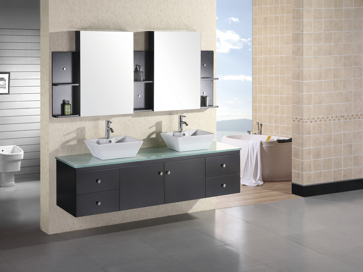 """71.5"""" Portland Double Vessel Sink Vanity with included mirrored medicine cabinet"""