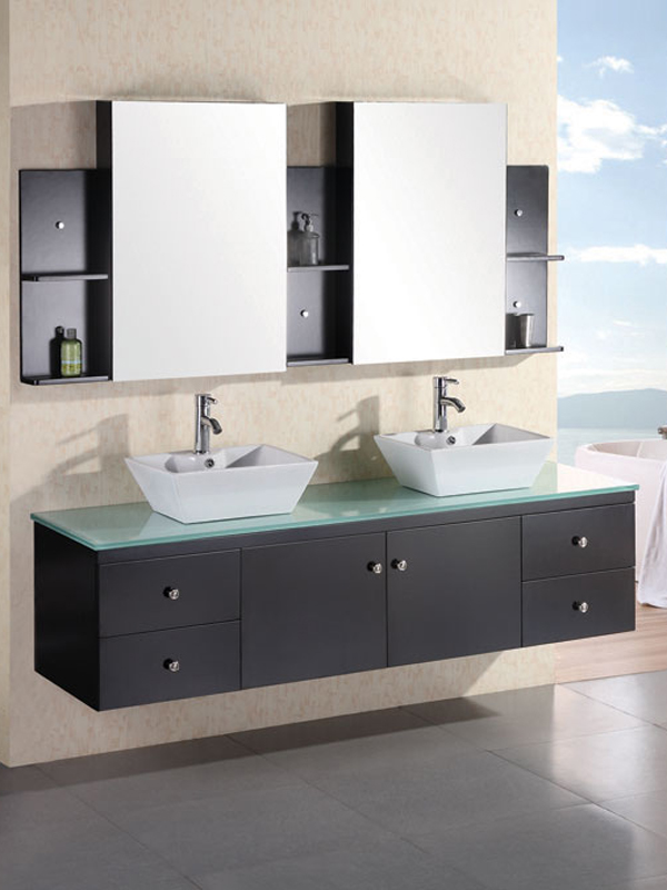 72 portland double vessel sink vanity espresso for Bathroom vanity portland oregon
