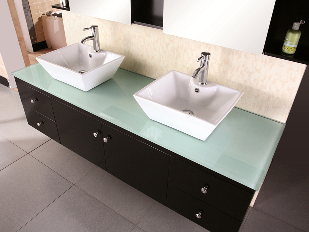 Tempered glass top with ceramic  vessel sinks