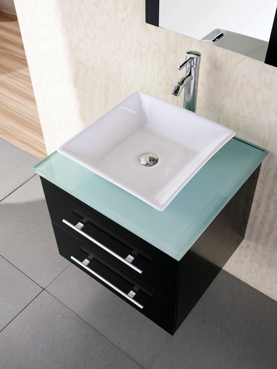 Tempered glass top with ceramic vessel sink