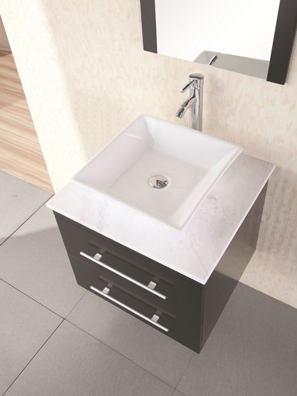 Marble top with ceramic vessel sink
