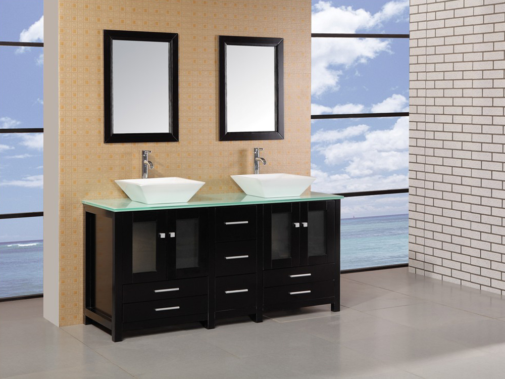 "61.75"" Arlington Double Vessel Sink Vanity with included mirror"