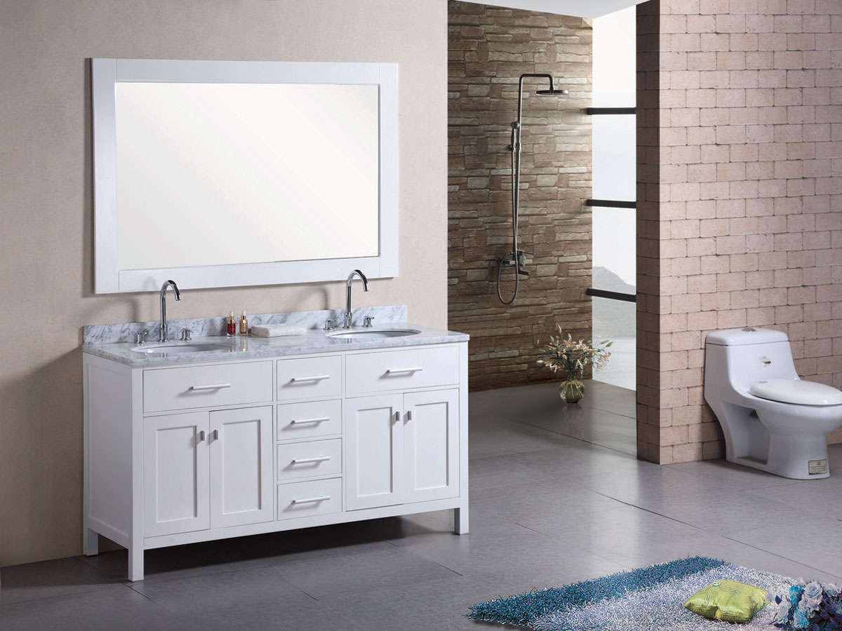 "61"" London Bathroom Vanity with included mirror"
