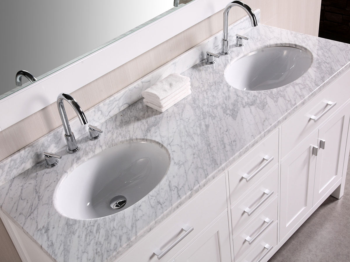 double sink vanity white. Carrera White Marble Top 61  London Double Sink Vanity Bathgems com