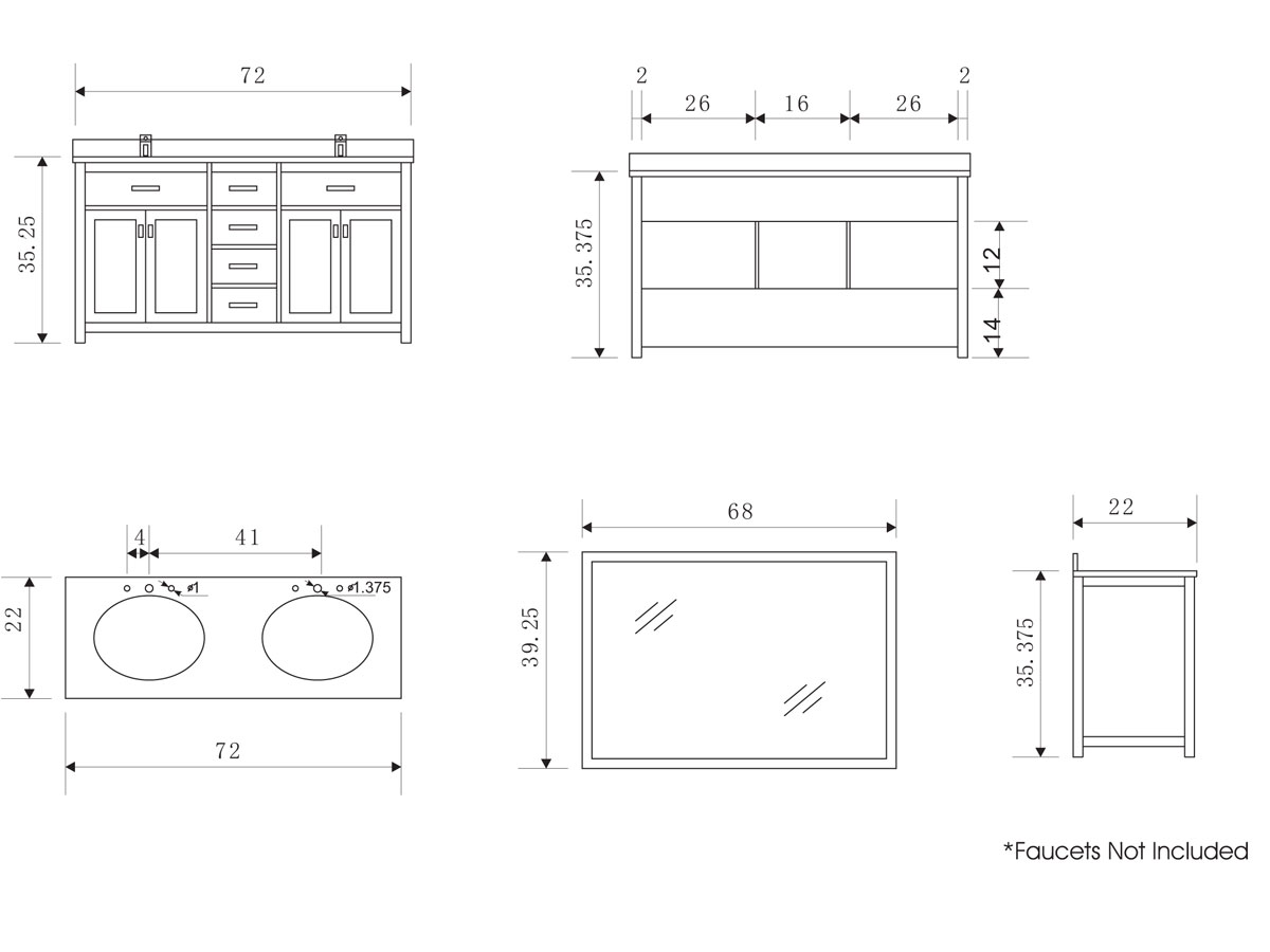 Kitchen Double Sink Cabinet Dimensions