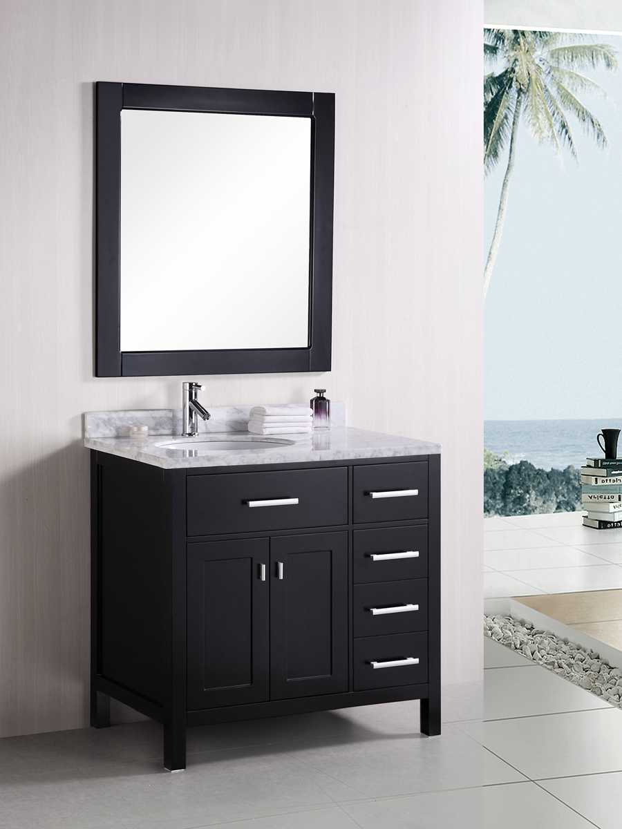 "36"" London Single Vanity with matching mirror"