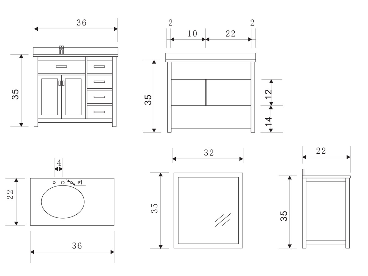 bathroom cabinets dimensions 36 quot single bath vanity style 2 white bathgems 10362