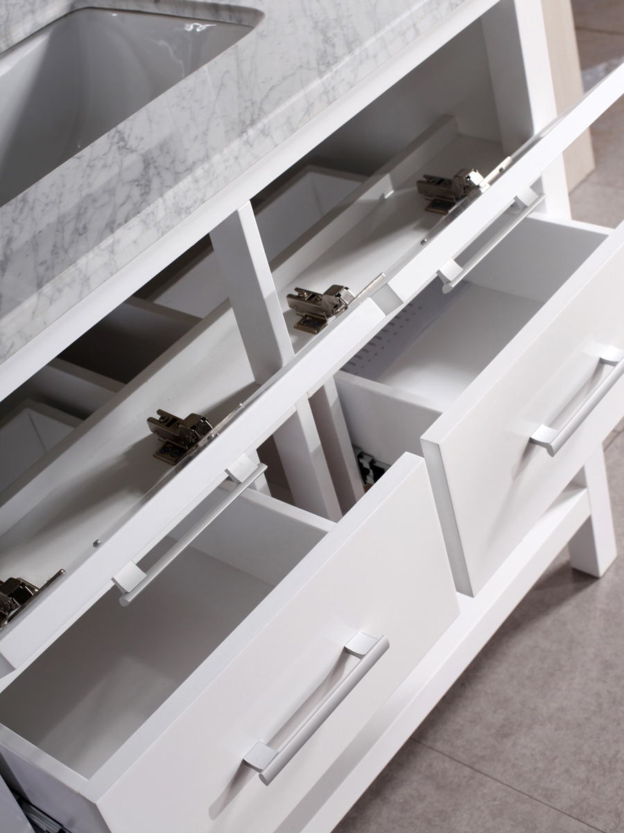 Two pull-down compartments and drawers