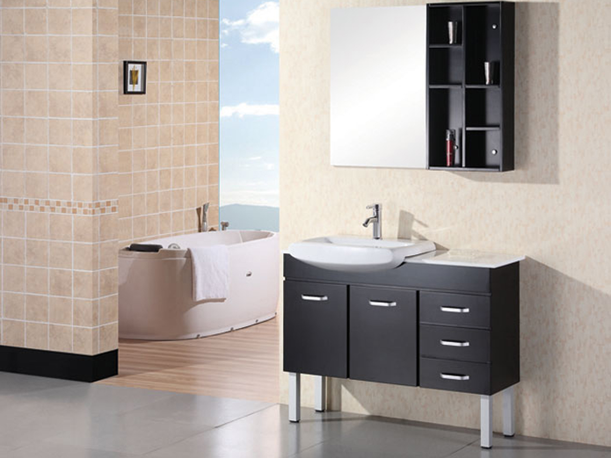 "36"" Belini Single Vanity with included mirror and wall shelf"