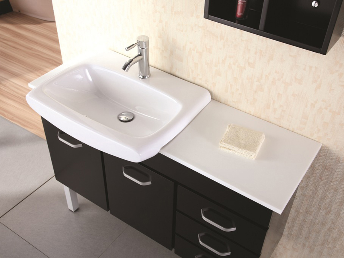 Artificial stone top and porcelain sink