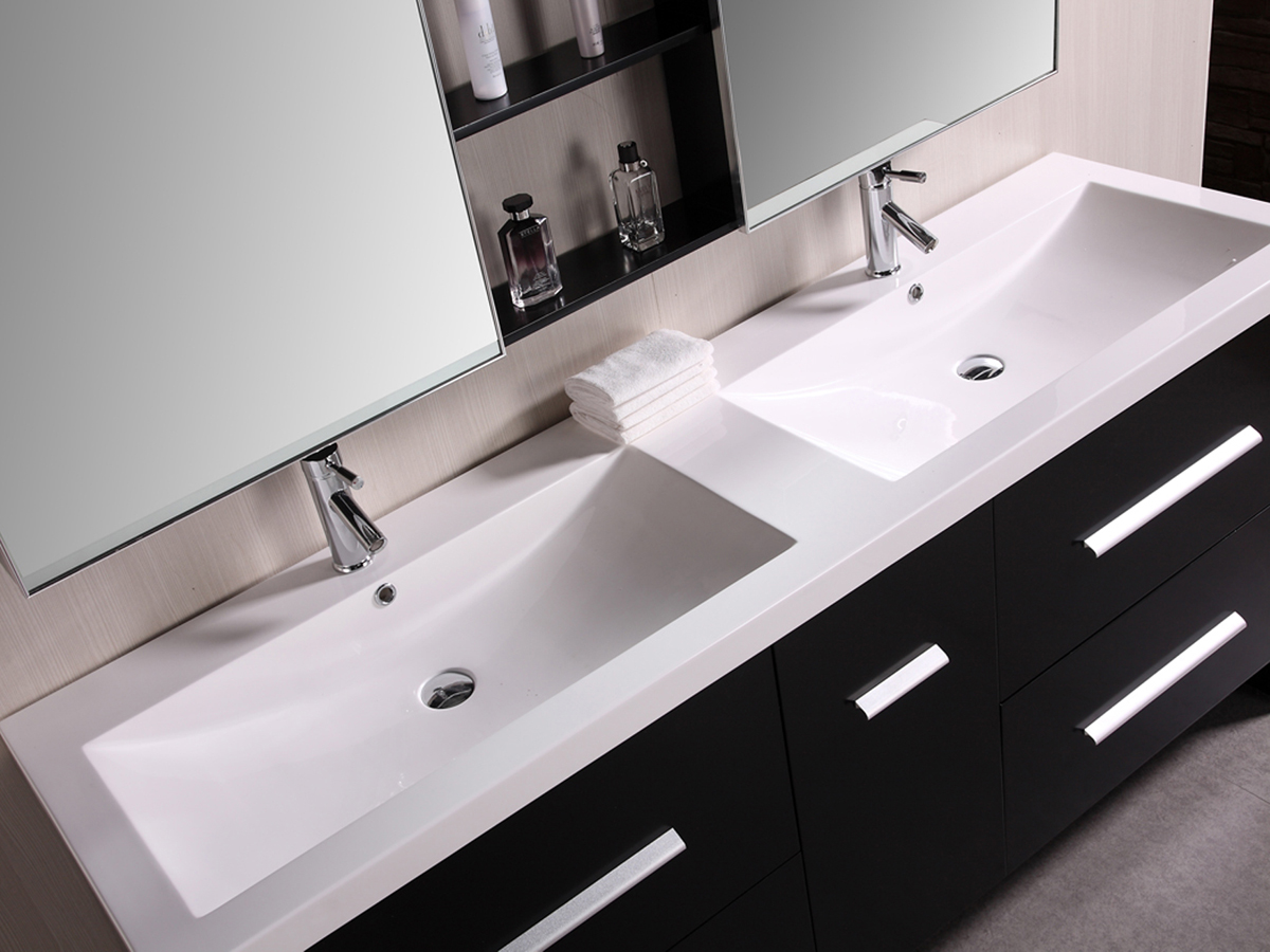 72 perfecta double sink vanity for Pictures of bathrooms with double sinks