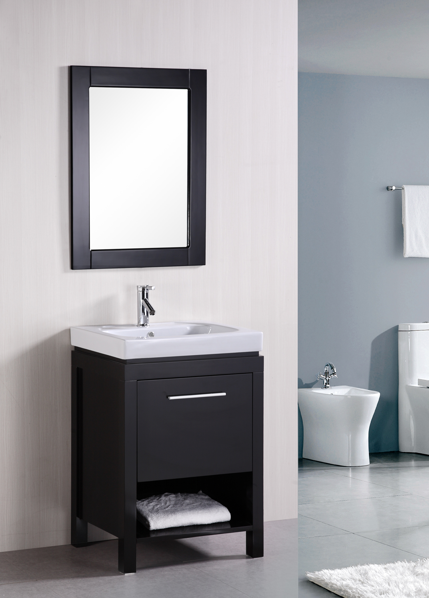 "24"" New York Single Vanity with matching mirror"