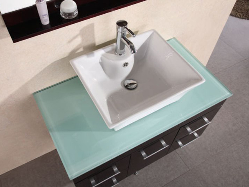 Tempered glass countertop with porcelain sink