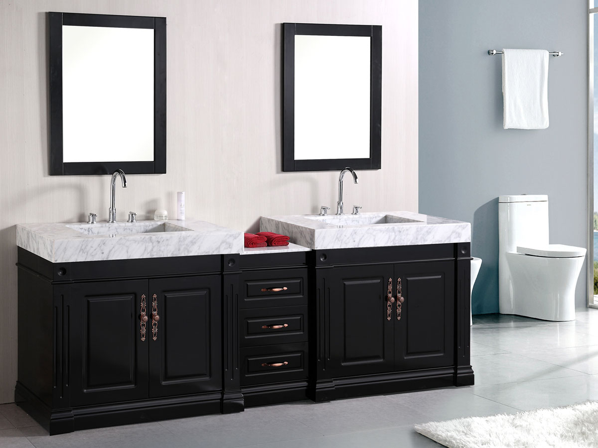 88 odyssey double sink vanity for Double basin bathroom sinks