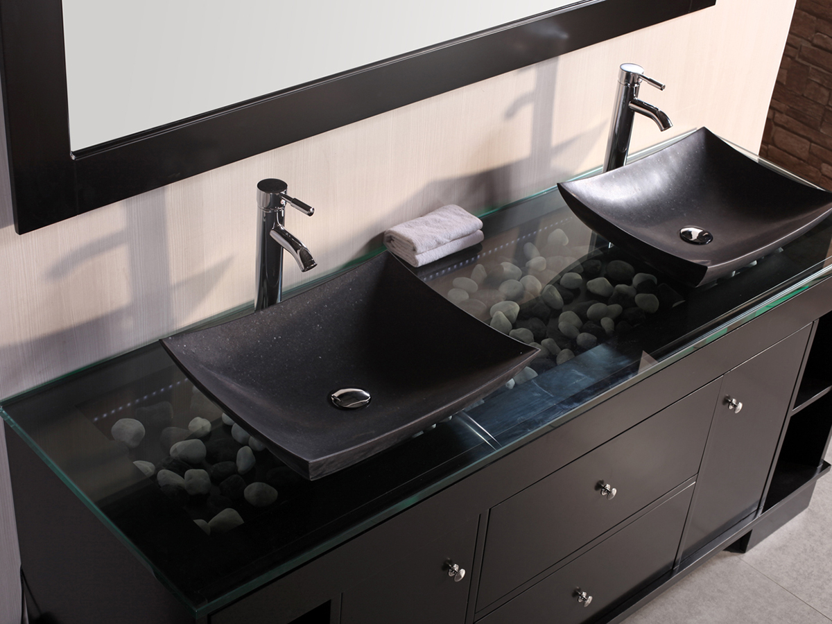 "Modern Bathroom Vanities Tempered Glass Design Vessel Sink 72"" oasis double vessel sink vanity - bathgems"