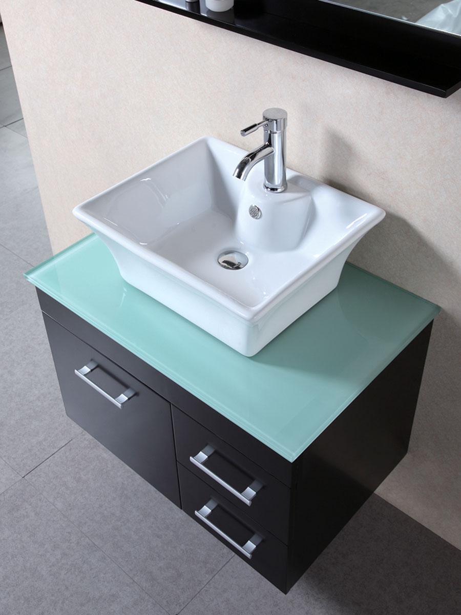Tempered glass top with porcelain vessel sink