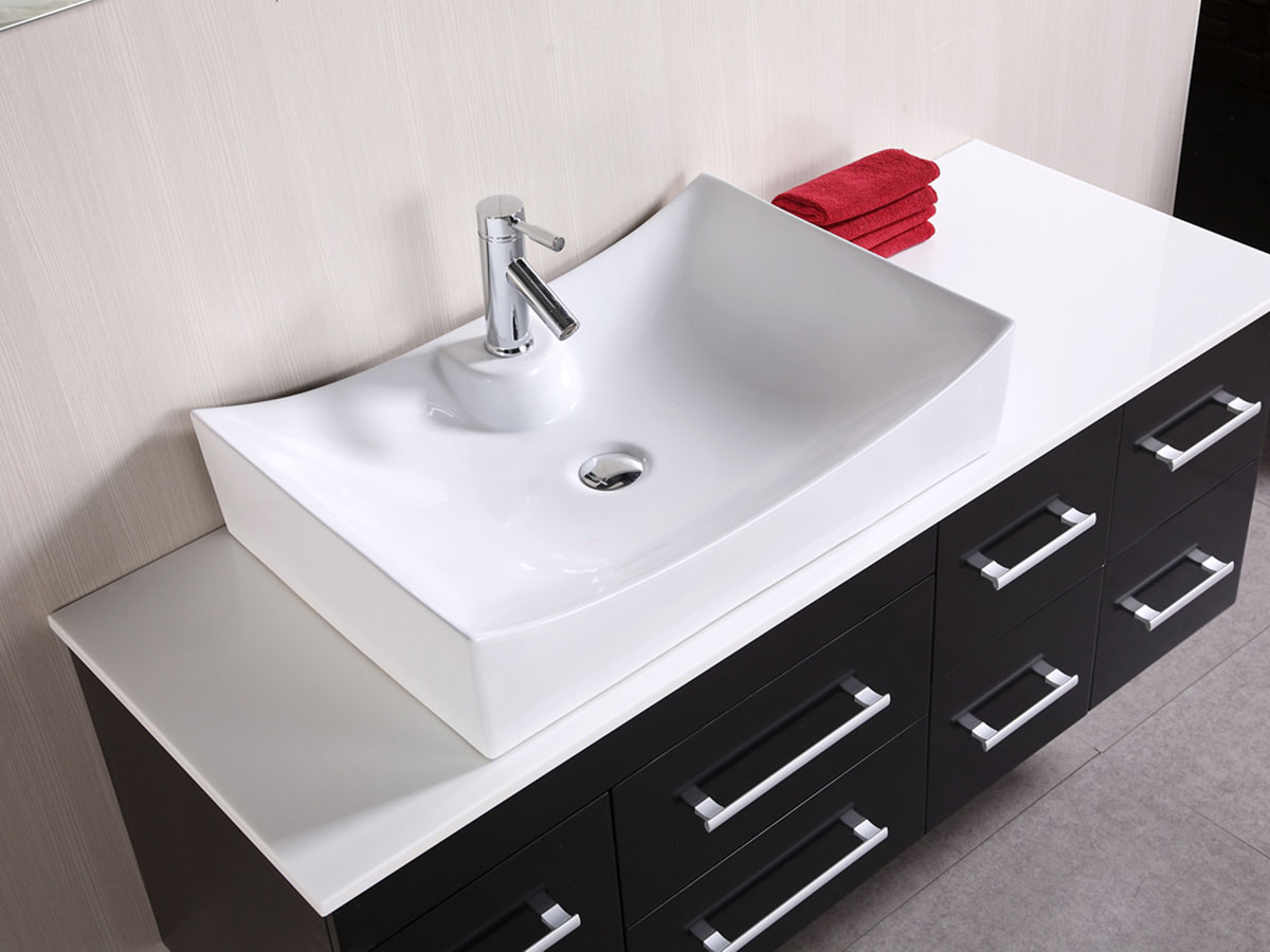 Composite Stone top and porcelain vessel sink