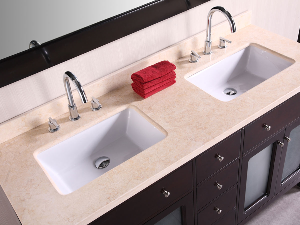 Beige Marble top and porcelain sinks