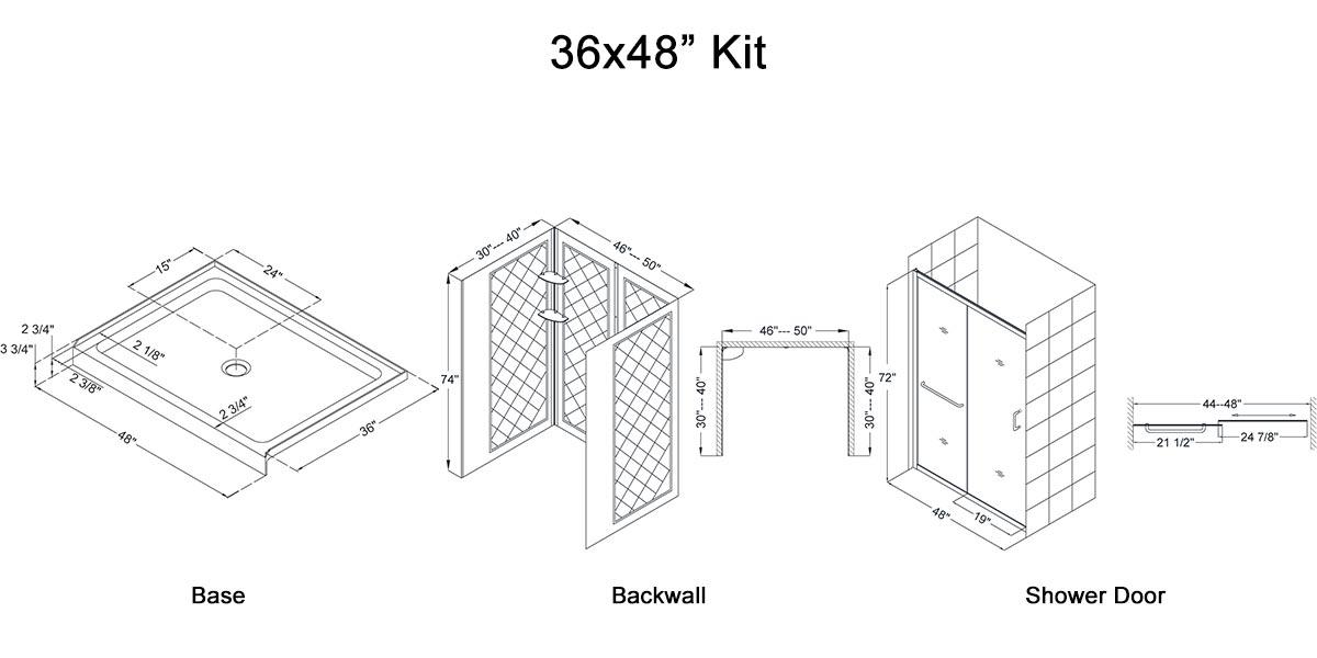 """36x48"""" Kit - Dimensions"""
