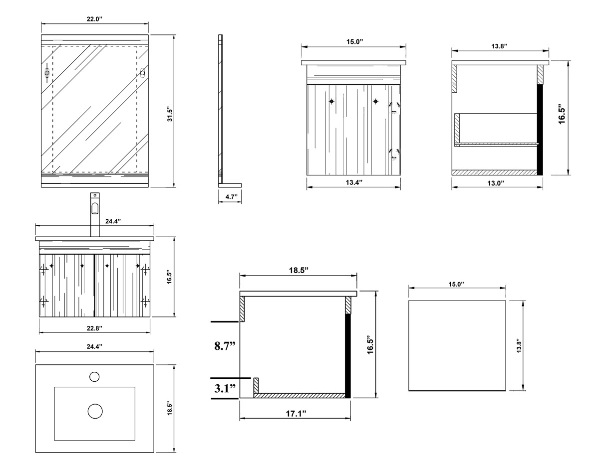 Vanity and Cabinet Dimensions