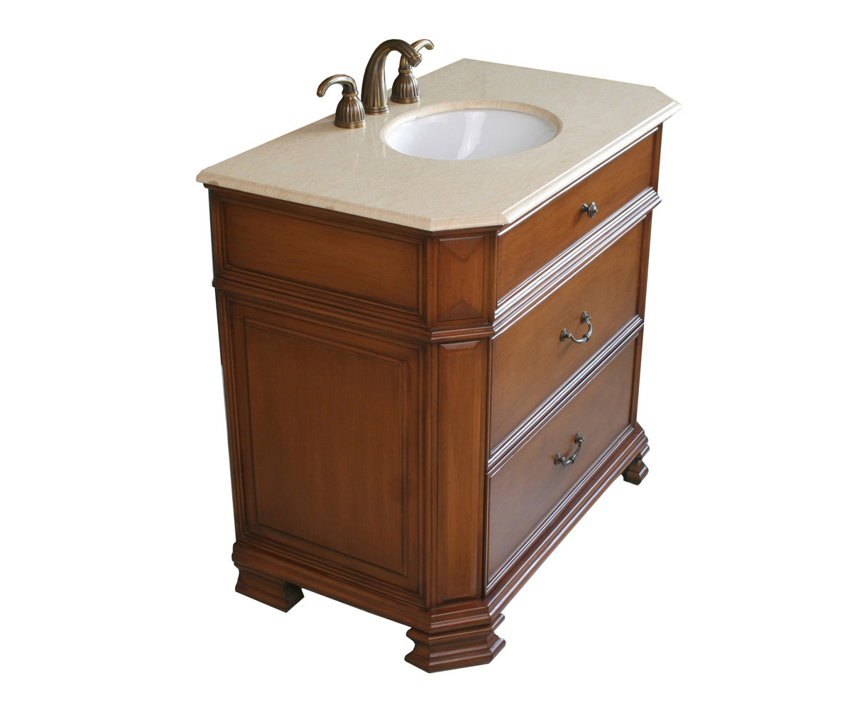 Traditional Vanity With Light Walnut Finsih