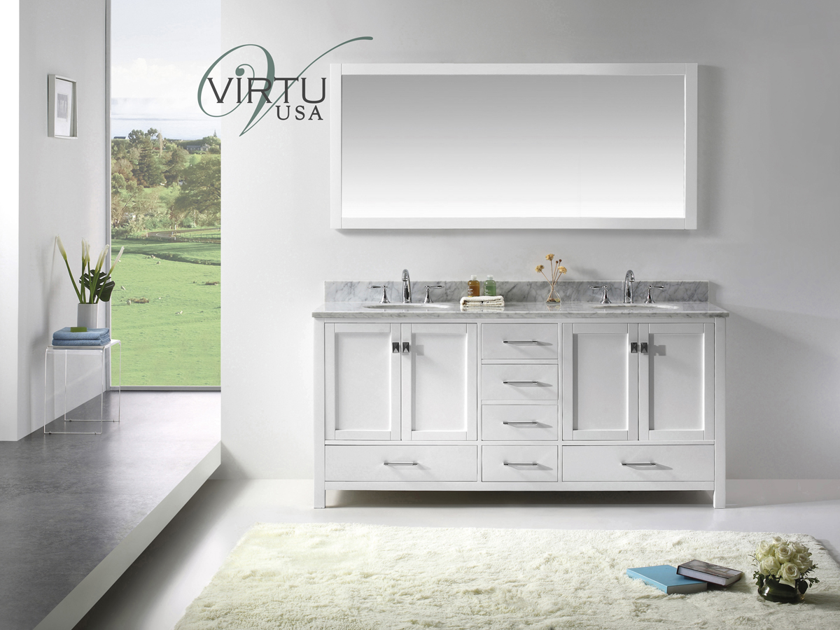"73"" Caroline Avenue Double Vanity with Round Sinks"