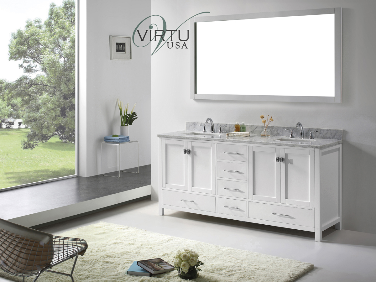 "73"" Caroline Avenue Double Vanity with Square Sinks"