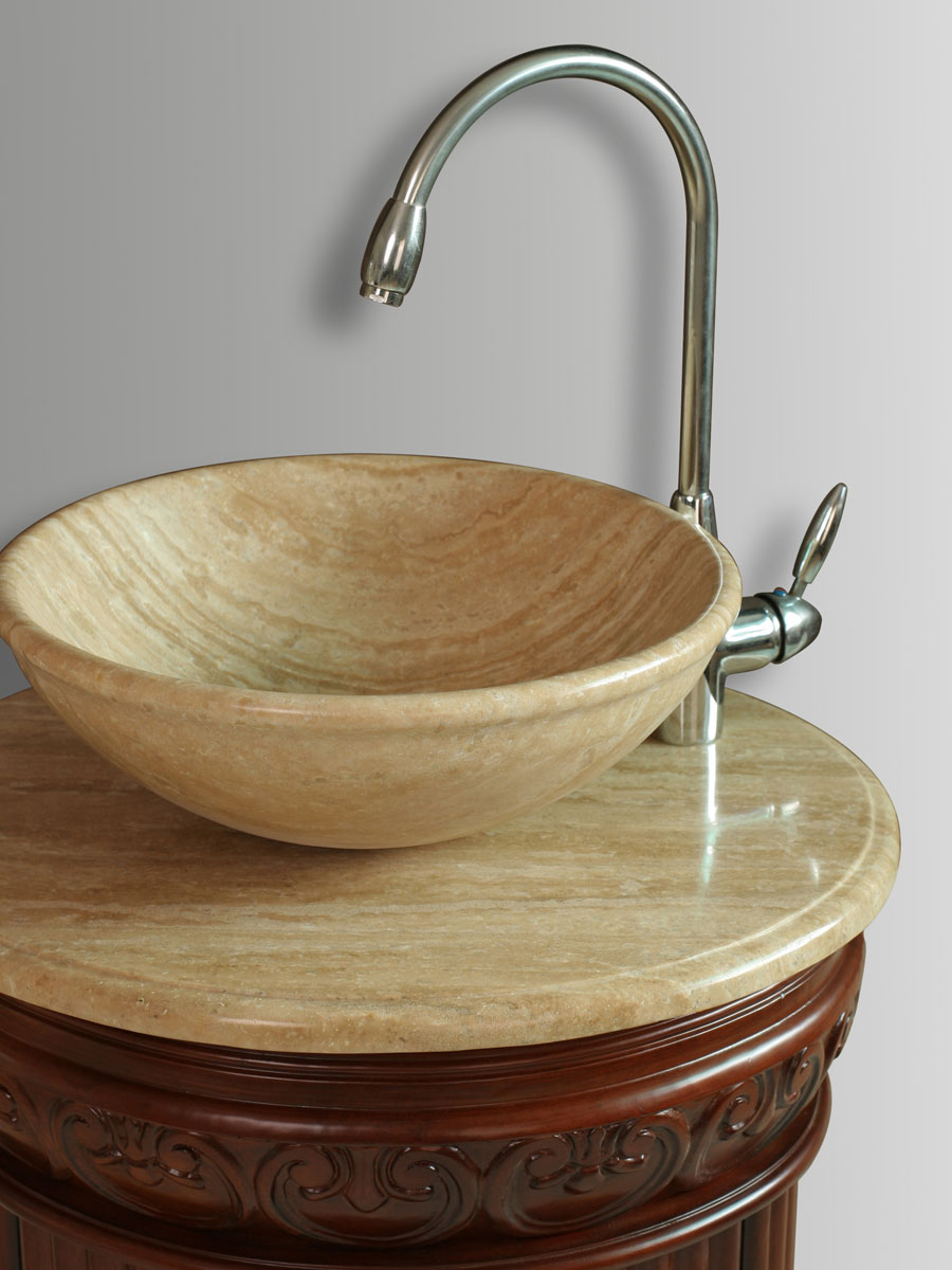 Travertine Top and Vessel Sink