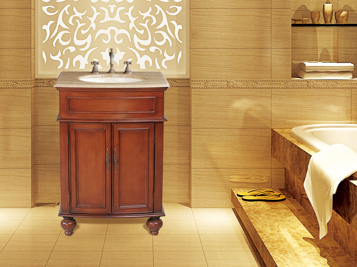 "26"" Prince Single Bath Vanity - with Travertine Marble top"