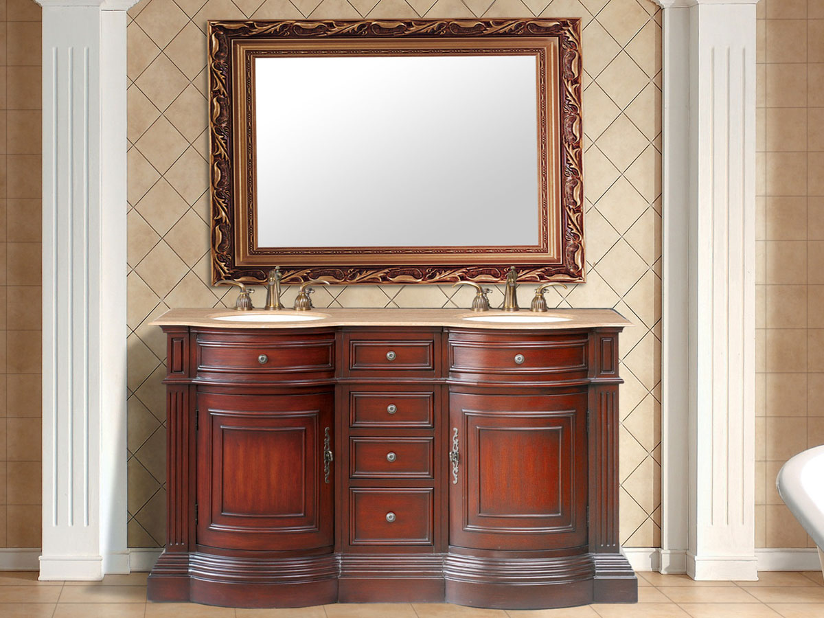 "62"" Catherine Double Sink Vanity - with Travertine Marble Top"